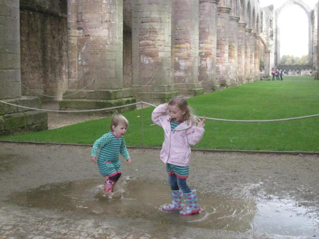 World Heritage puddles at Fountains Abbey
