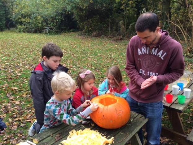 Pumpkin carving, YHA Thurlby