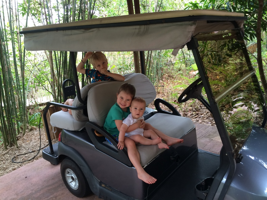 Our golf buggy, Soneva Kiri