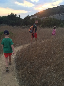 Sunset walk to our picnic, Costa Navarino