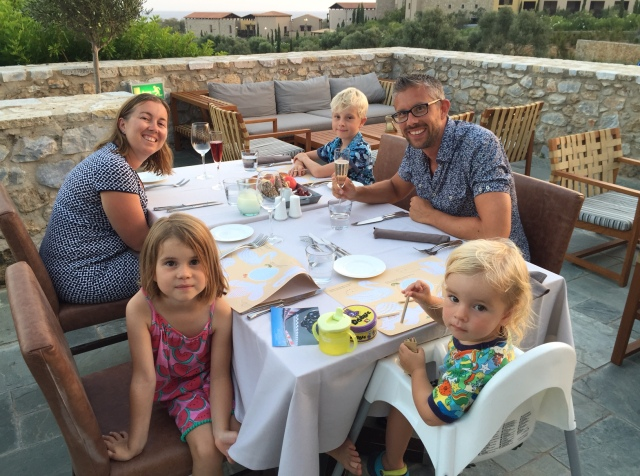 Family dinner at Flame, Costa Navarino